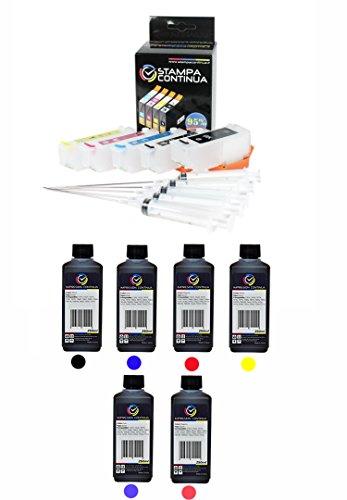 Cartouches rechargeables Epson 24, 24 XL + encre 6 x 250 ml (Dye) pour les imprimantesEpson Expression Photo XP-750 / XP-850 / XP-950 / XP-760 / XP-860 / XP-55 / XP-960