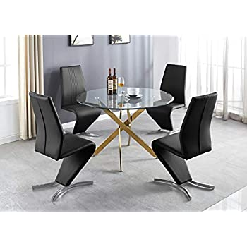 Furniturebox UK Novara Modern Stylish Large Round Gold Metal And Clear Glass Dining Table And 4/6 Premium Willow Dining Chairs Set (Dining Table + Black Willow Chairs, 4 Chairs)