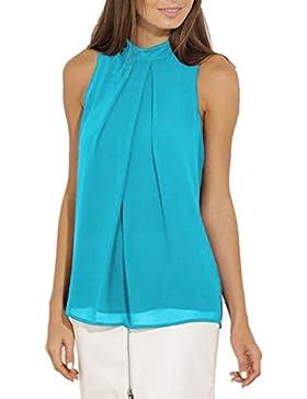 [Patrocinado]QIYUN.Z Camisetas Para Mujer Blusa Sin Mangas Chaleco De Gasa Tops