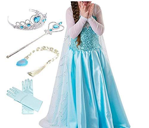 ZQZP TOP Prinzessin Kostüm Kinder Glanz Kleid Mädchen Weihnachten Verkleidung Karneval Party Halloween Fest