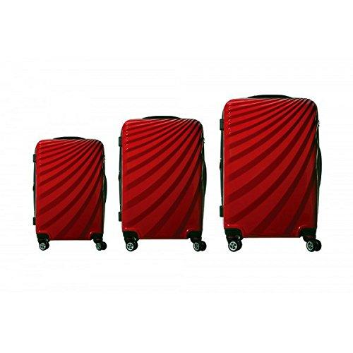 VIVIANA Hartschalen Koffer Trolley in ROT mit TSA Schloss 3er SET BS-L-XL