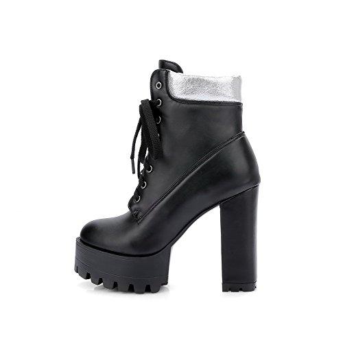 AllhqFashion Damen Gemischte Farbe Niedrig-Spitze Zweifarbig Schnüren Hoher Absatz Stiefel Schwarz M6yyt