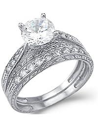 Nuevo sólido 14 K oro blanco CZ Cubic Zirconia Anillo de compromiso boda Band Set corte