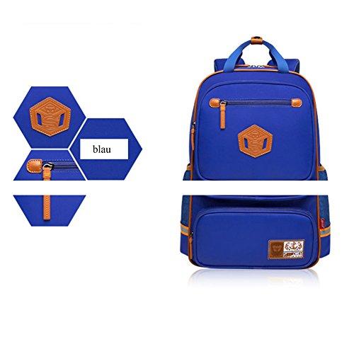 YAAGLE Rucksack Damen und Herren Schulrucksack unisex Schultasche wasserdicht Kinderrucksack sicher leicht Schultertasche schwarz blau(klein)