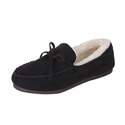 Dooxi Damen Winter Warm Gefüttert Bootsschuhe Mode Bowknot Flache Hausschuhe Loafers Beiläufig Schneestiefel Erbsenschuhe Dunkelblau 37 (Loafer Bootsschuhe)