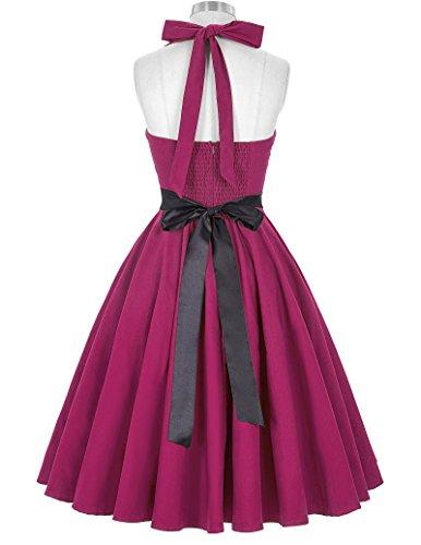 GRACE KARIN® 50s Retro Vintage Rockabilly kleid Partykleid knielang Neckholder Kleid CL8950-3(Purpurn)