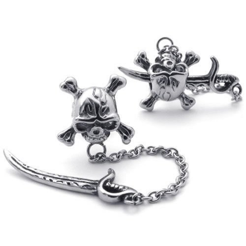 Konov Jewellery Vintage Stainless Steel Men's Pirate Skull Stud Earrings Set, 1 Pair 2pcs, Color Silver (with Gift Bag)