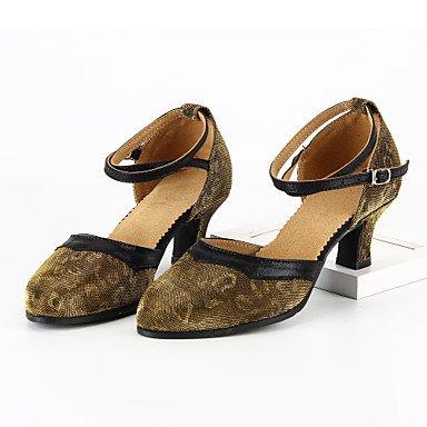 XIAMUO Anpassbare Damen Tanz Schuhe Moderne funkelnden Glitter angepasste Ferse Blau/Gelb Gelb