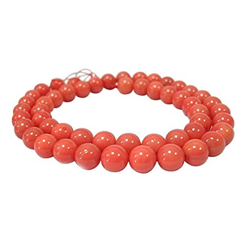 Pandahall 5 Strands 10mm Grade A Shell Pearl Beads Strands, Polished Dyed Round Pearl Beads for Mother's Day Jewellery Necklace Making, Red Coral, about 10mm in diameter, hole: 0.8~1.0mm, about 38pcs/strand