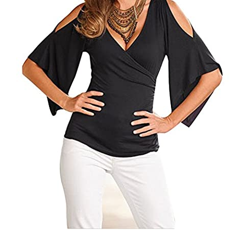 Bling-Bling V Neck Slit Sleeve Wrap Top(Black,L)