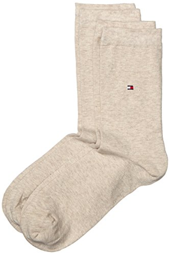 Tommy Hilfiger Damen Socken Th Women Sock Casual 2er Pack, Gr. 35/38, Beige (light beige melange 360) -
