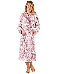 836a591de5 Slenderella HC8321 Women s Pink Leaf Print Robe Long Sleeve Dressing Gown
