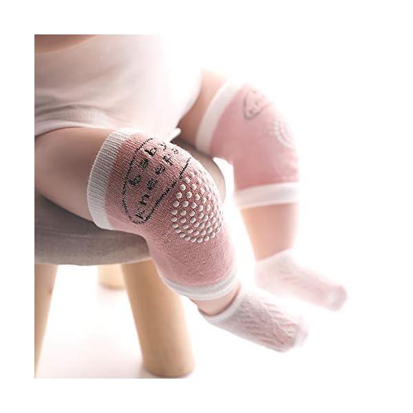 QH-shop 3 Pares Rodilleras para Bebés y 3 Pares Calcetines con Silicona Antisdeslizantes Almohadillas para Niño Rodilla… 2