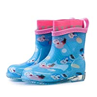 LYXFZW,Rain Boots For Kids,girls,Rubber Wellington Boots Soft Removable Socks Waterproof Non-Slip Unisex Boys Easy Wipe Outdoor Blue Rabbit Transparent Sole Cute For School Garden Fashion