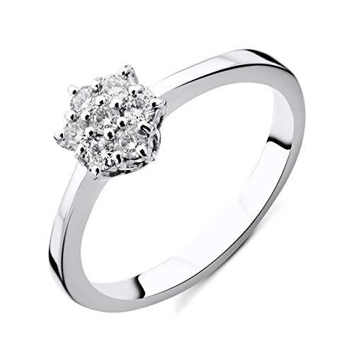 Orovi Damen Diamant Ring Weißgold, Verlobungsring 14 Karat (585) Gold und Diamanten Brillanten 0.21 Ct Ring Handgemacht in Italien (Ring Diamant Damen Weißgold)