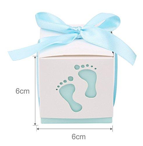 Yalulu 50 Stück Fuß Gastgeschenke Taufe Baby-Süßigkeit Baby Candy Box Candy Flaschen Geschenk Box Baby-Dusche-Bevorzugungen Taufe Geschenk (Blau)