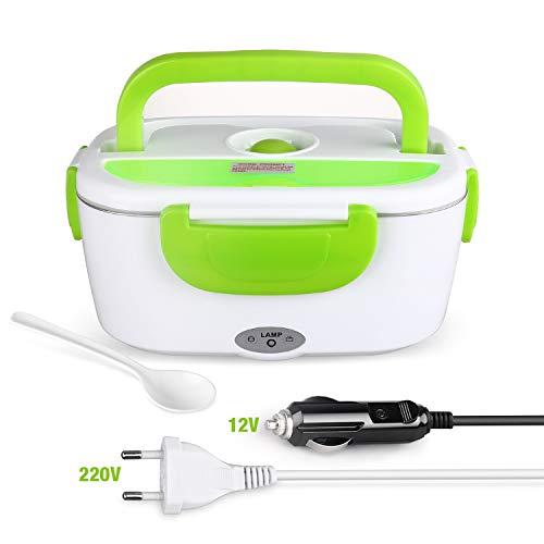 Homeasy scaldavivande elettrico portavivande elettrico portatile in acciaio inox (220v & 12v) per casa auto campeggio ufficio ecc-verde
