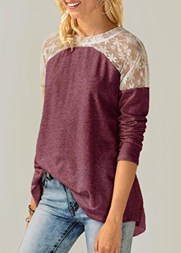 Sentao Donna Casual Camicia Autunno Maglietta Invernale Felpa Pizzo Giuntura Camicetta Maniche Lunghe T Shirt Tops Vino rosso
