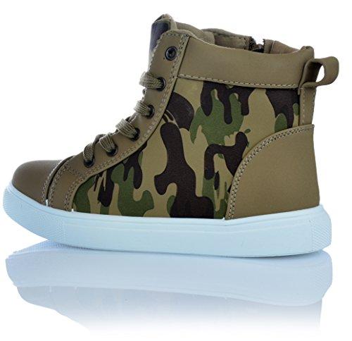 Unisex Schuhe Sneaker Camouflage Freizeitschuhe Knöchelschuhe Reissverschluss Tarnung Braun