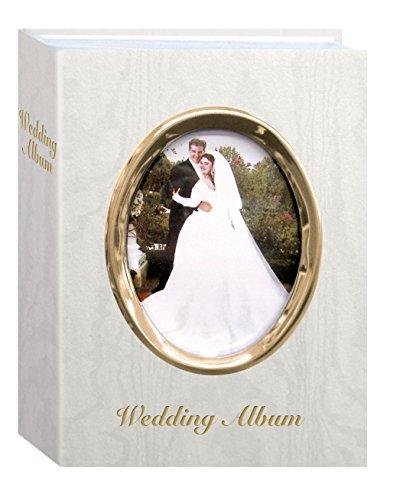 Pioneer Foto Alben 100-pocket Moire Cover Album mit goldfarbenes Oval Rahmen und Hochzeit Album Text für 4von 6Prints, elfenbeinfarben