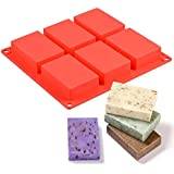 Zollyss 6 Cavity Rectangle Shape Sharp Edges Soap Making Silicone Mould, Multicolor