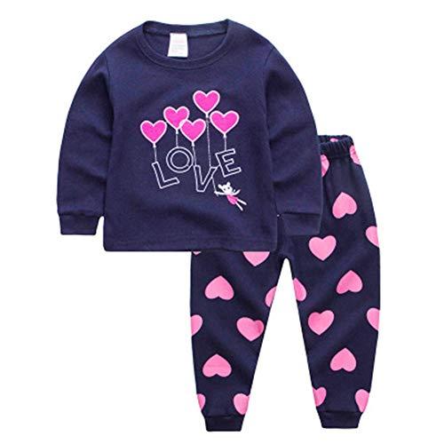 Baby Mädchen Kleidung Set T-Shirt Top Langarm Shirt Pants Stirnband Baumwolle Bekleidungsset Liebe Outfits Kleine Prinzessin 2 Stücke,Blau,90cm -