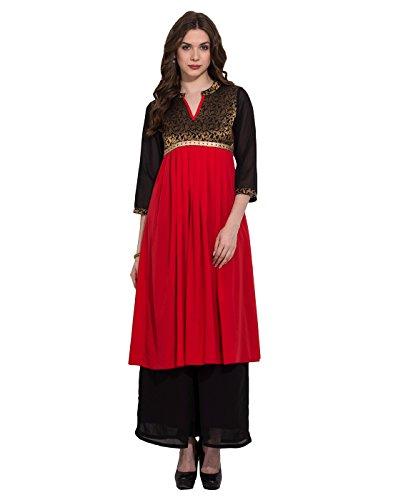 Red Floral Jacquard Anarkali Kurti Medium