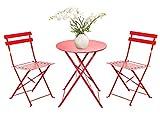 FRANKYSTAR Set Retro Bistro 2 sedie + tavolino Pieghevole salvaspazio per Giardino, Balcone, Veranda e terrazza - Set di Arredamento per Esterni in Acciaio antiruggine. Disponibile in Vari Colori.