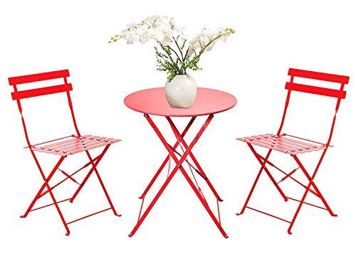 FRANKYSTAR Set Retro 2 sedie + tavolino Pieghevole salvaspazio per Giardino, Balcone, Veranda e terrazza - Set di Arredamento per Esterni in Acciaio antiruggine. Disponibile in Vari Colori.
