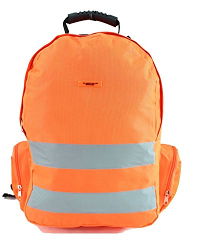 Islander Fashions High Visibility Rucksack Wandern Wandern Sport Rucksack Reflektierende Streifen Arbeitstaschen Orange One size (Webbed Tragegriff)