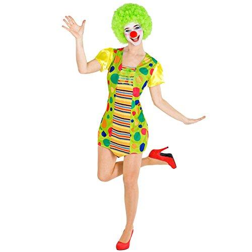 dressforfun Costume da Donna - Clown Pazzerella | Corto Abito Colorato | Incl. Naso da Pagliaccio (XL | No. 300826)