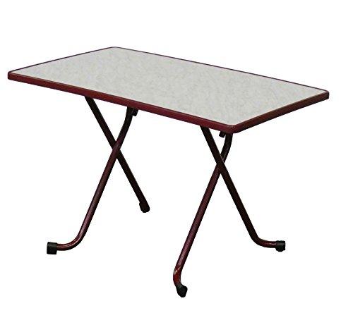 Table de Jardin pliante 4/6pers d'appoint 110x70cm Bordeaux/Marbre de gênes