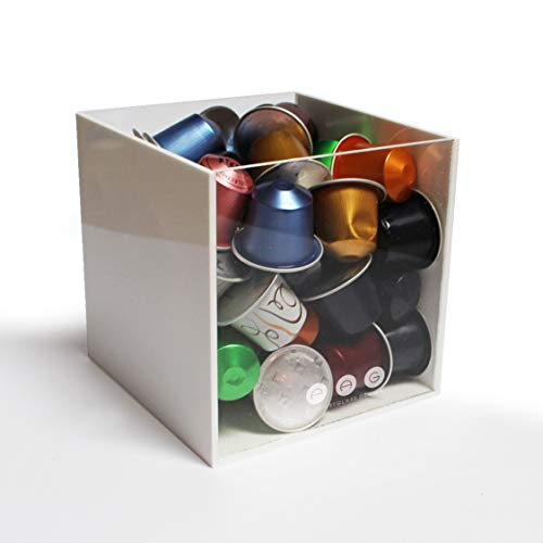 Porta capsule cubo senza coperchio bianco+trasparente in plexiglass made in italy 14 cm