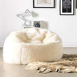Icon Chaise Pouf Classique en Fausse Fourrure - 84cm x 70cm, Pouf Poire Grande Taille en Fourrure (Blanc)
