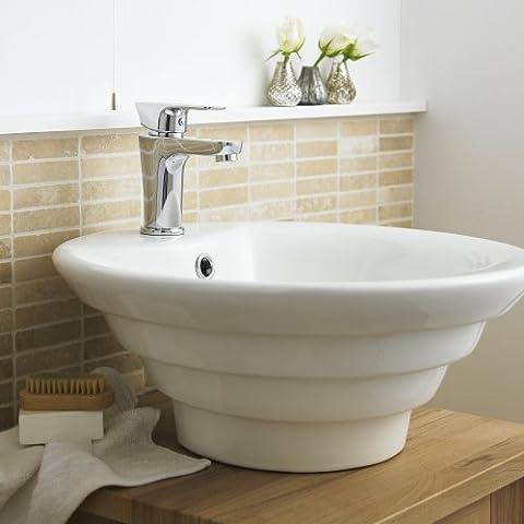 NBV006 Hudson Reed - Vasque Ronde Lavabo Lave-mains à Poser - Céramique Blanche 46cm - Design Moderne - Pré-Perçé - Salle de Bain