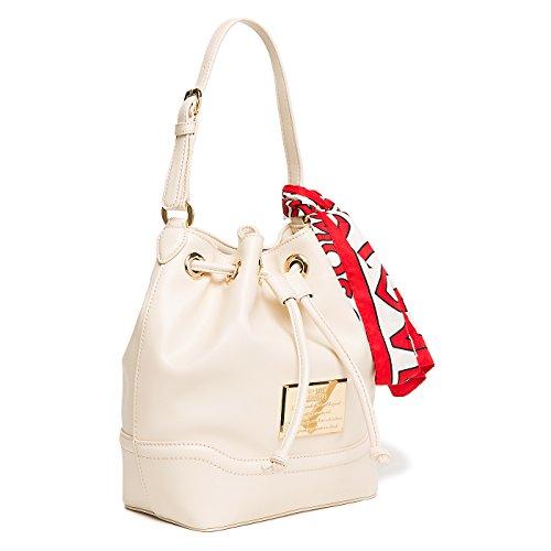 Verstellbarer Handgriff (Wannenbeutel Frauen Love Moschino Faux Elfenbein beige Leder mit weißen Schal mit Logo und Rot kombiniert. Handgriff mit verstellbarem Schulterriemen .)