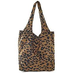 iBaste Moda Mujer Clásico Leopardo Bolso de Hombro de Pana, Vendimia Bolso de Compras Hermanas Estilo Bolso Casual