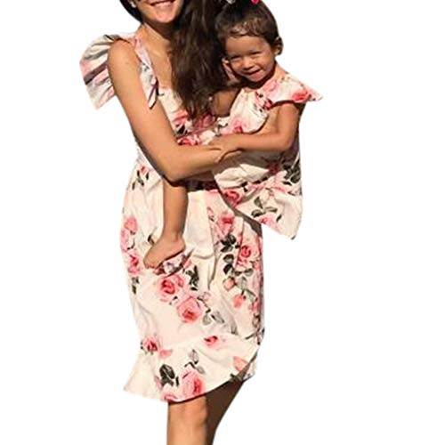Livoral Mommy & Me Child O-Ansatz Sleeveless Rüschen Blumendrucken Familie Kleidung Kleid(Weiß(Baby),110)
