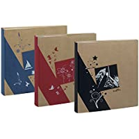 Lot de 3 albums kraftty à pochettes pour 500 photos 11.5x15 - Rouge bleu et noir