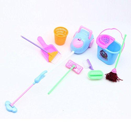 Kids Reinigungs-Set Küche Spielzeug spielen, mamum Puppen Pretend Play Spielzeug Reinigungs-Set für Barbie Puppen (1Set = 9Stück) Farbe zufällige (Puppe Kühlschrank)