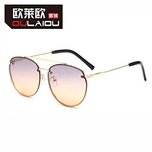 RYRYBH Neue Unterwasserfilm-Sonnenbrillendamen-Metall-Sonnenbrille mit großem Rahmen Sonnenbrille (größe : Silver Frame Double Yellow Piece)