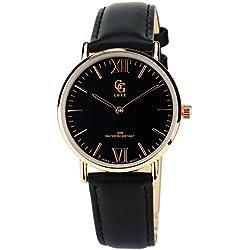 GG LUXE Damen Armbanduhr schwarz Gold Quarz Armband Leder schwarz Analog