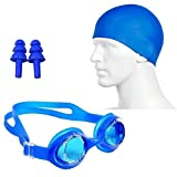 #7: Swimming Kit with Shorts Swim Trunks, cap, earplugs and Goggles for Kids Boy (6- 10) years) Assorted color & design