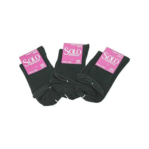 3 Paia Calze CORTE Donna Solo Soprani caldo cotone Taglia unica 36/41 NERO 422