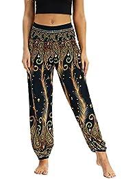 Pantalon de Yoga Femme Floral Imprimer Élastiquée Taille Pantalon Pyjamas  Pantalons Casuel Pants Boho Harem Pantalon Dames Sport Lâche… 62a9eeef56a