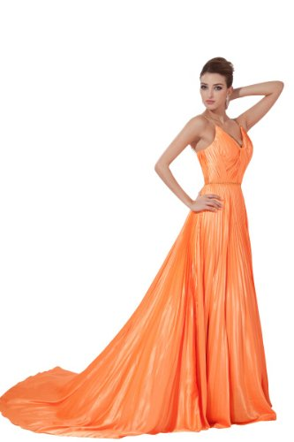 Lemandy Robe de soirée avec traine satin stretch orange Orange