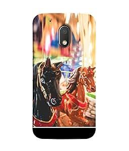 PrintVisa Designer Back Case Cover for Moto G Play (4th Gen) :: Motorola Moto G4 Play (The Horses In The Fair )