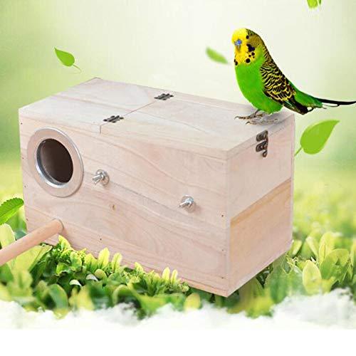 HOMYY De Madera Pájaros Caja, Perico Nido Caja, Pájaro Nidificación Casa, Cría Caja para Periquitos...