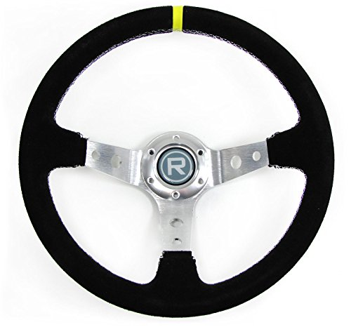 Carparts-Online 29561 350mm Sport Lenkrad geschüsselt Echt Wildleder Alu schwarz Rennsport TYP 4