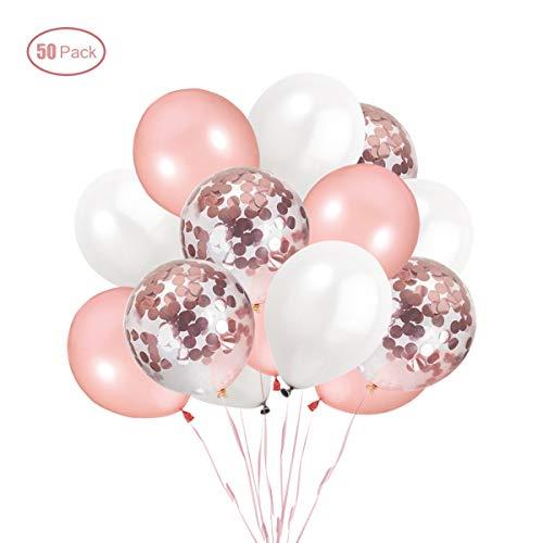 Ohighing 50 Stück Luftballons Rose Gold Konfetti Helium Ballons für Hochzeit Mädchen Kinder Geburtstag Party Deko (Rosegold + Weiß) 30cm